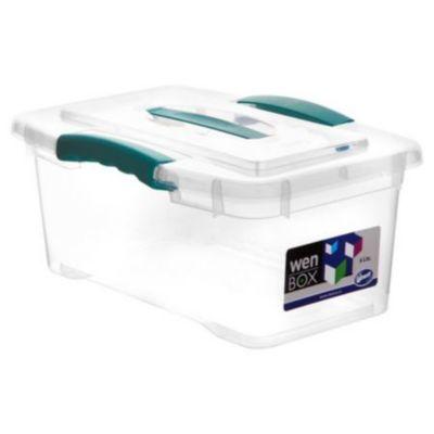 Caja organizadora de plástico con tapa Wenbox transparente 6 L