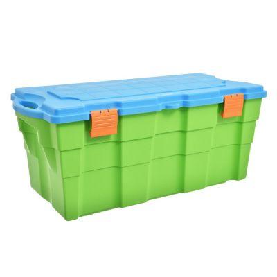 Baúl organizador de plástico verde y celeste 100 L