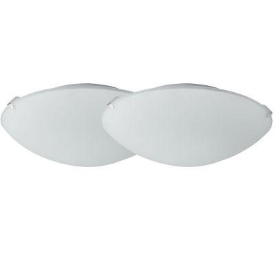 Pack de 2 plafones de metal y vidrio redondos 1 luz E27