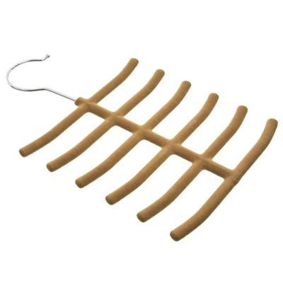 Percha para corbatas de terciopelo beige