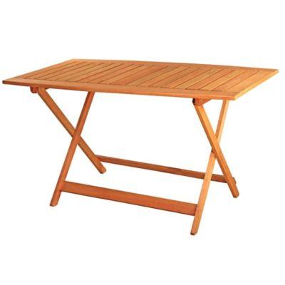 Mesa de jardín Tucán de madera rectangular plegable marrón