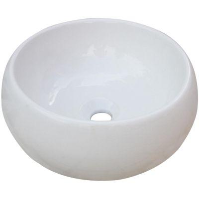 Bacha circular loza de apoyo Catania 40 x 15 cm blanco