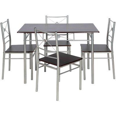 Juego de comedor Brasilia de acero 1 mesa y 4 sillas wengue y gris
