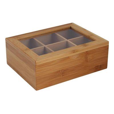 Caja porta té bambú