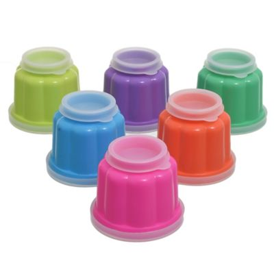 Pack de 6 moldes con tapa 80 ml multicolor