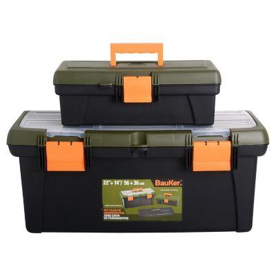 Set de 2 cajas de herramientas de 56 y 36 cm con organizadores