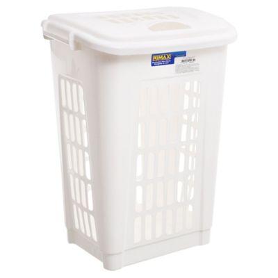 Canasto organizador de plástico con tapa blanco 60 L
