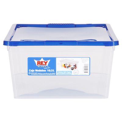 Caja organizadora de plástico con tapa Modubox transparente 10 L