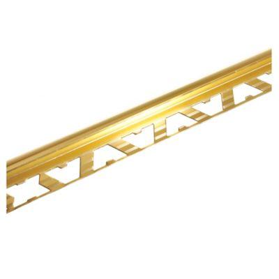 Guardacanto de aluminio Bullnose 10 mm x 2,5 m oro brillante