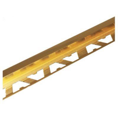 Guardacanto de aluminio Cuadra 10 x 10 mm x 2,5 m oro brillante