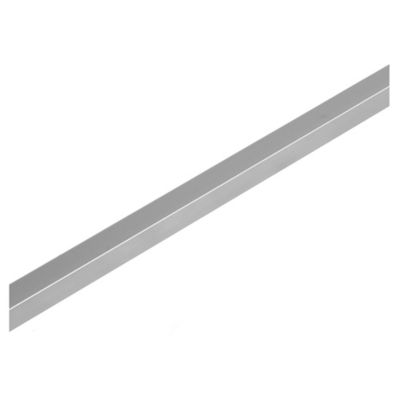Listel de aluminio cuadrado 9 x 9 x 245 cm cromado