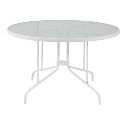 Mesa de jardín St Thomas de acero redonda blanca