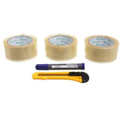 Set de cinta de embalaje 48 x 100 m con marcador y trincheta