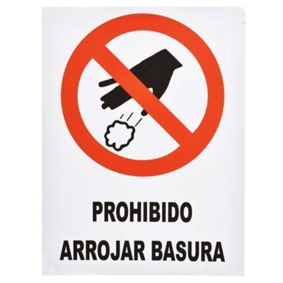 Cartel prohibido arrojar basura 40 x 30 cm