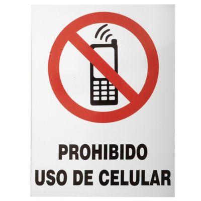 Cartel prohibido uso de celular 40 x 30 cm