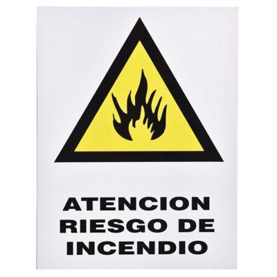 Cartel atención riesgo de incendio 40 x 30 cm
