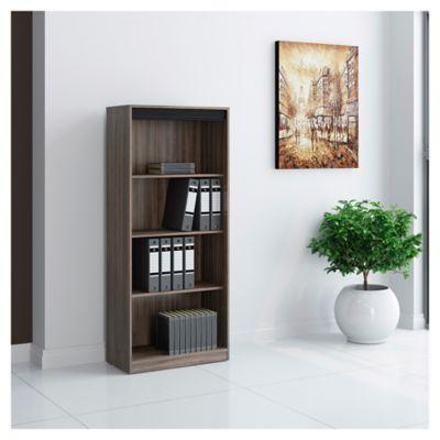 Biblioteca Alabama con 5 estantes chocolate y negro