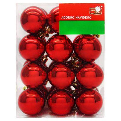 Set de 24 esferas 4 cm roja brillo