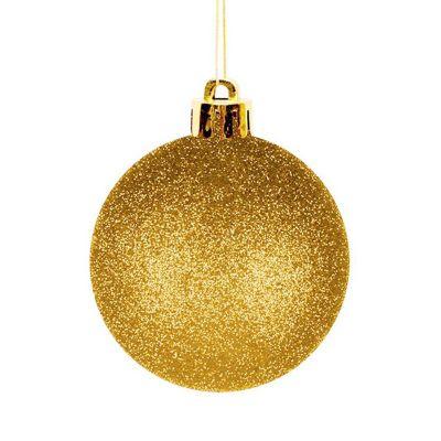 Set de 12 esferas 6 cm doradas con escarcha
