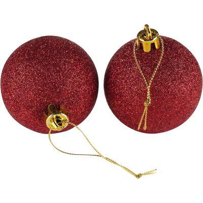 Set de 12 esferas 6 cm roja escarchadas