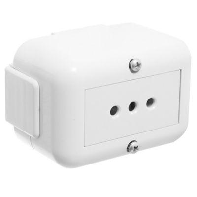 Caja exterior 1 módulo con tapa con tomacorriente de 2 patas blanco Halux