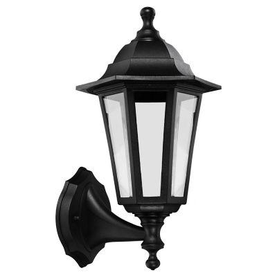 Farol superior de plástico negro 1 luz E27