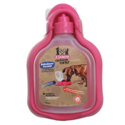 Bebedero portátil para mascotas rosa 330 ml