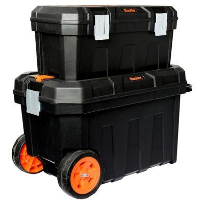 """Set de 2 cajas de herramientas plásticas 23"""" y 20"""" con ruedas y organizadores"""