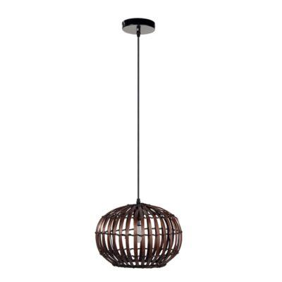 Lámpara colgante Silva ratán chocolate 30 cm 1 luz E27