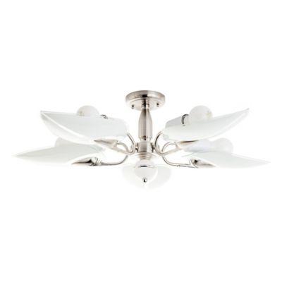 Lámpara de techo satinado vidrio Hojas 5 luces E27
