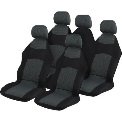Cubre asiento poliéster gris y negro