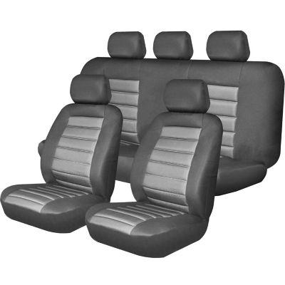 Fundas para asientos de cuero negro y gris