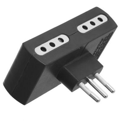 Adaptador 4 tomas con salida 3 en línea 10 A negro