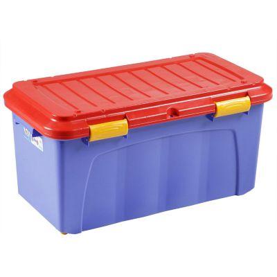 Baúl organizador de plástico Megaforte azul y rojo 90 L
