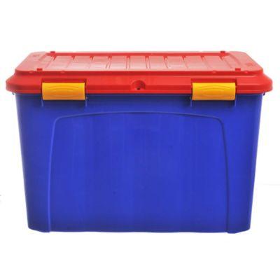 Baúl organizador de plástico Megaforte azul y rojo 123 L