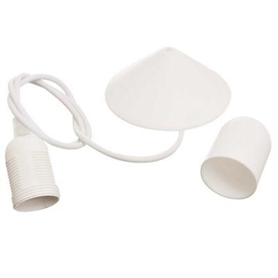 Portalámpara colgante de plástico blanco 1 luz