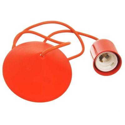 Portalámpara colgante de plástico naranja 1 luz E27
