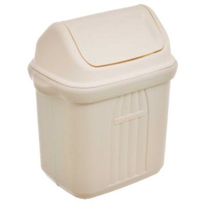 Basurero 6,5 L de plástico cremita con tapa vai ven