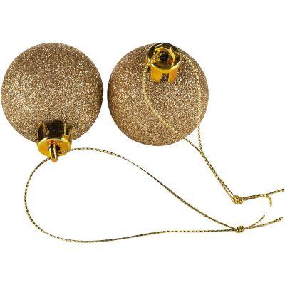 Set de 24 esferas 4 cm dorado glitter