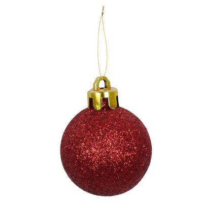 Set de 24 esferas 4 cm rojo glitter