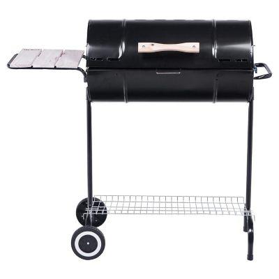 Parrilla a carbón tambor con tapa mesa y ruedas
