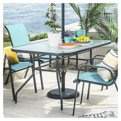 Mesa de jardín Sling de acero rectangular gris