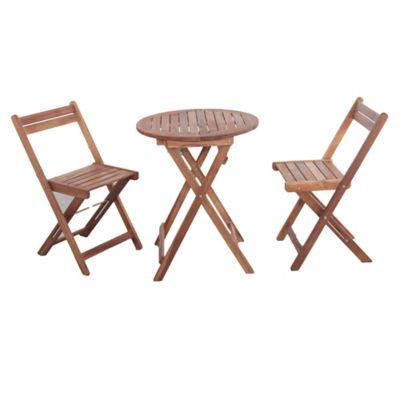 Juego de balcón Catania de madera 3 piezas natural