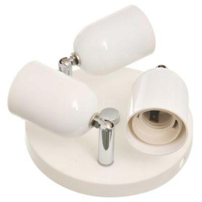 Spot plástico base redonda blanco 3 luces