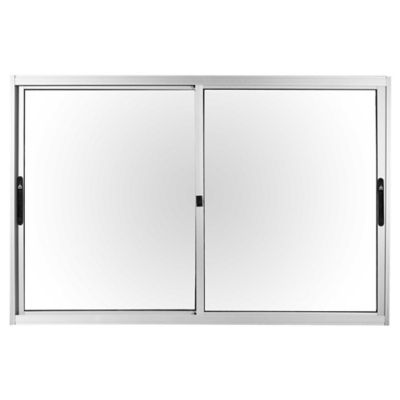 Ventana de aluminio Anodizado Prem gris 150 x 100 cm