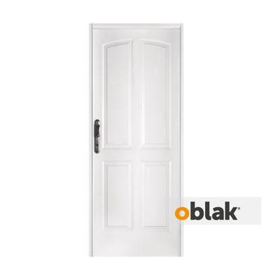 Puerta exterior de acero cuatro tableros blanca 80 cm derecha