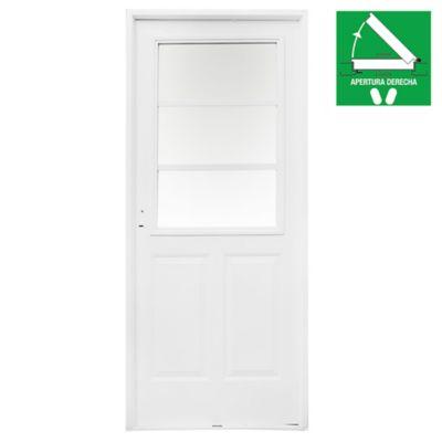 Puerta exterior de acero 1/2 reja blanca 80 cm derecha