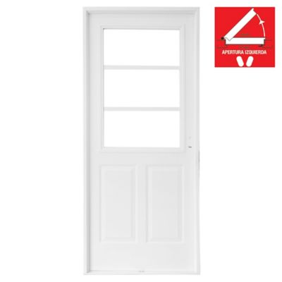 Puerta exterior de acero 1/2 reja blanca 80 cm izquierda