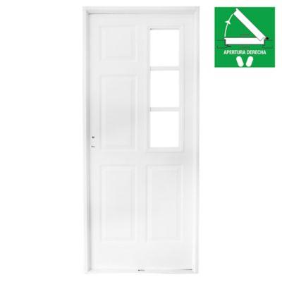 Puerta exterior de acero reja lateral blanca 80 cm derecha