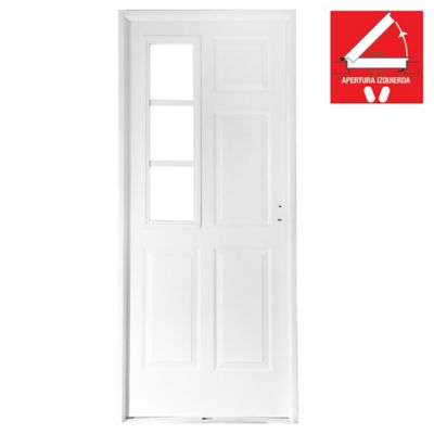 Puerta exterior de acero reja lateral blanca 80 cm izquierda